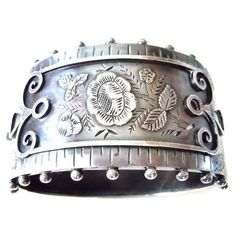 Preowned Victorian Cuff By Constantine & Floyd ($925) ❤ liked on Polyvore featuring jewelry, bracelets, cuff bracelets, grey, victorian jewelry, cuff bangle, silver bangles, pre owned jewelry and silver cuff bangle