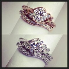 Named after Scottish Fern, this ring is one of the most beautiful in the entire collection. With its delicate flowing setting and low lying style it has been one of the most popular for doctors and nurses! Pictured here in 18ct Rose Gold and Platinum with matching diamond set wedding ring. A definitive modern day classic!! — at Daniel Henderson Jewellery.