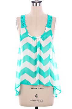 GIDDY UP GLAMOUR Sunny Sunday Mint Chevron Top $24.95