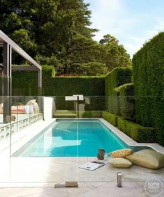 This pool area has been made secure by the use of glass panels.  This looks very attractive but needs to be kept sparklingly clean.