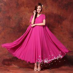 8120c45db237 110 Colors Double Chiffon Rosy Long Party Dress Short Sleeve Evening  Wedding Sundress Summer Holiday Beach Dress Bridesmaid Maxi Skirt