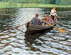 On the Lake by Nikolay Bogdanov-Belsky. Impressionism. genre painting