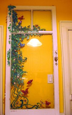 painted windows, by Linda Arthurs home DIY Wooden Windows, Vintage Windows, Old Windows, Windows And Doors, Window Art, Window Frames, Window Screens, Decoupage, Painting Tips