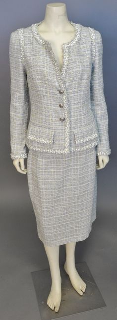 "Lot 440: Chanel two piece suit, yellow and white tweed jacket and skirt (waist approximately 32""). #Nadeausauction #Socialite #Luxurycouture #vintagecouture #vintagefashion"