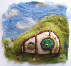 Needle-Felted-Hobbit-Hole-House-3d-art-Tolkien-Lord-of-the-Rings