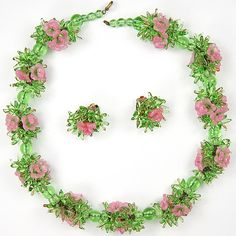 Italian Pink and Green Poured Glass Flowers and Leaves Necklace and Clip Earrings Set