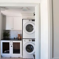"""I put off """"real"""" work today to catch up on laundry, cleaning, and paint the kitchen. The reveal is coming so so soon and I can't wait to share it with you. It's only been 6 months in the making. Just imagine a better version of the laundry room😍 via Work Today, Stacked Washer Dryer, Interior Inspiration, Home Kitchens, Laundry Room, Home Appliances, Cleaning, Paint, Interior Design"""