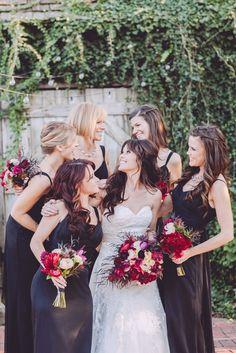 Black, red and purple... always a cool combo. Photography: Danielle Nowak - daniellenowak.com  Read More: http://www.stylemepretty.com/mid-atlantic-weddings/2014/04/10/rustic-barn-wedding/