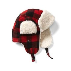 Gap Men Plaid Wool Trapper Hat ($28) ❤ liked on Polyvore featuring men's fashion, men's accessories, men's hats, red plaid, regular, mens wool hats, mens earflap hat, mens ear flap hats and mens trapper hat