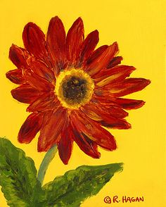 Red Gerbera Daisy exuberant flower cheery red yellow oil painting