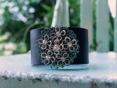 bel monili Upcycled Jewelry Leather Cuff Bracelet with Vintage Jewelry Accent