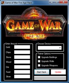Game of War Fire Age Hack Cheat android With this program you can add Unlimited Gold, Chip, Stone, Wood, Ore and Silver.