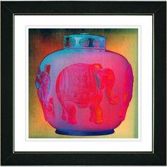 Studio Works Modern 'Red Elephant Urn' Framed Print
