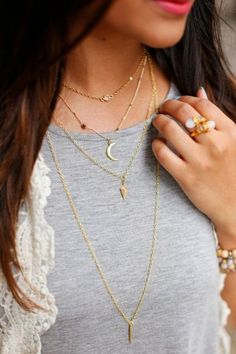 layered necklaces, haute off the rack, moon necklace, crescent necklace, women's fashion, summer jewelry