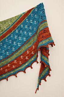 """This is our first collaboration pattern between me and my sister Amy Meeks indigoamy. As many may know, our oldest sister Wendy lived a short 34 years but those years were full of random acts of kindness, generosity and COLOR. She brightened many lives during her short time on earth, and now she brings color to the Heavens. This 3-color wrap represents us three sisters, two colors that play well together, then one color that """"pops,"""" """"wows"""" and makes a statement, just like Wendy."""