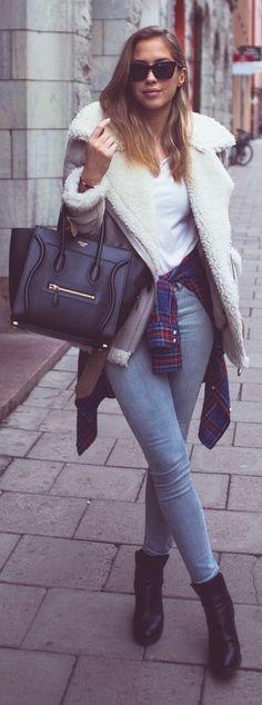Grey And White Furry Sheepskin Jacket by Kenzas