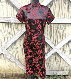 322c4857fc Red and Black Japanese Satin Geisha Dress   Red and Black Oriental Dress    Oriental Cosplay Dress