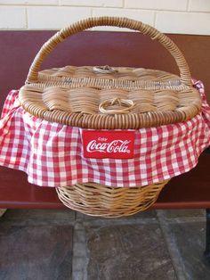Rare Coca Cola Picnic Basket / Hamper
