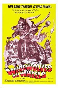 "movie poster WEREWOLVES ON WHEELS motorcyle gang ""BRIDE OF SATAN"" 24X36"