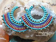 Turquoise Macrame hoop earrings, AFRICA design, tribal, ethnic, alternative fashion, spiritual jewelry, gift for woman, hippie, gypsy, woven. Hand-woven macrame Earrings from the finest cotton wax thread. Includes black Japanese glass beads.  Each pair of earrings is created with
