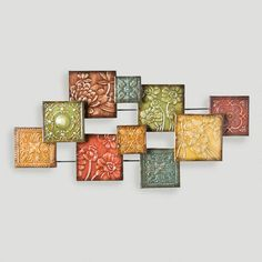 Decorative squares are combined in an abstract pattern to create our Hand Painted Tiles Wall Sculpture. Each panel is a different size and floral pattern with hand painted colors and glaze creating a very eye catching piece of art for your home or office. Metal Sculpture Wall Art, Wall Sculptures, Floral Wall Art, Abstract Wall Art, Metal Wall Decor, Metal Wall Art, New Wall, Wall Décor, Cool Walls