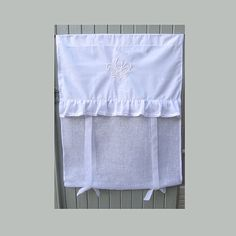 Linen Window Curtain with Ivory Fleur de Lis by LinenandLetters
