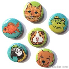 Pet Magnets or Pin Set  Animal magnets pinback buttons by claudine