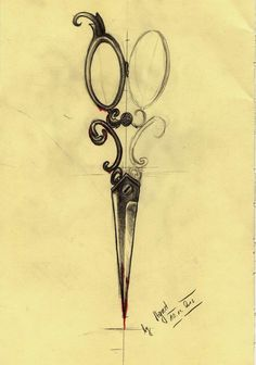 Sketch of my tattoo - Victorian Scissors by AGRESTOWATA.deviantart.com on @deviantART