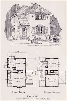 Eclectic Two-Story European Revival - 1926 Universal Plan Service - No. 507 - House plans - Portland Homes Vintage Architecture, Architecture Design, Architecture Drawings, Cottage Floor Plans, Small House Plans, House Floor Plans, Portland, Design Innovation, Vintage House Plans