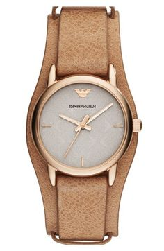 Emporio Armani Logo Dial Leather Cuff Watch, 28mm available at #Nordstrom
