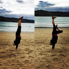 Somethings never change handstands on beaches all over the world now. Forever hand standing on beaches.  #travelling #roadtrip #greatoceanroad #australia #handstand #apollobay by sadiegardiner_ http://ift.tt/1LQi8GE