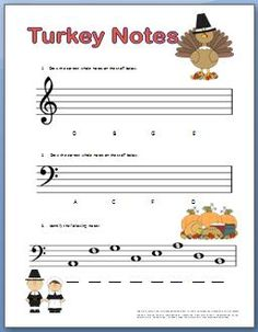 Piano worksheets for kids for Thanksgiving #myfunpianostudio