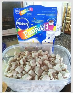Cake Batter Puppy Chow…maybe this is good? I think puppy chow is too sweet but I'm a sucker for cake batter anything! Yummy Snacks, Yummy Treats, Snack Recipes, Dessert Recipes, Yummy Food, Sweet Treats, Oreo Desserts, Cereal Recipes, Potato Recipes