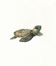 Green Baby Loggerhead Turtle/Watercolor Print/ 8.5x11