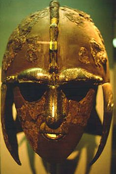 7th-century-anglo-saxon-helmet. This Anglo-Saxon helmet was found amongst other treasure under a burial mound at Sutton Hoo in England fifty years ago.
