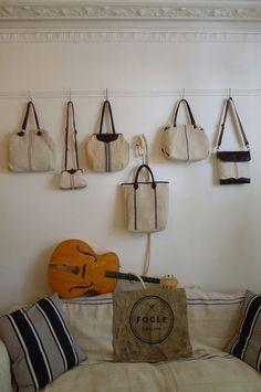 Hungarian Grain Sack bags in the Fogle Showroom Sashiko Embroidery, Textiles, Sack Bag, Grain Sack, Linen Bag, Fabric Bags, Quilted Bag, Cute Bags, Vintage Handbags