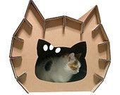 Kitty Cardboard House, Cat Furniture, Cat Toy, Cat Bed, Cat Cave, Pet House, Cardboard Furniture
