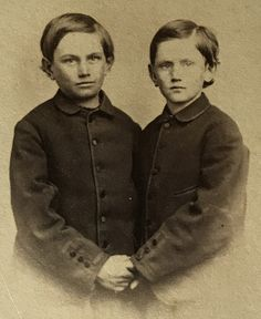 Frank and Jesse James, On a carte de visite. Just before all the conflict started. Original image from the collection of P. W. Butler.