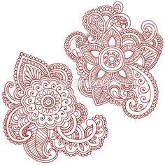 Хна цветы и элементы дизайна векторных рисунков Пейсли — Стоковое векторное изображение © blue67 #8628796
