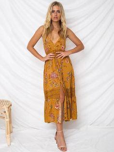 Floral Hollow V-neck Spaghetti-neck Midi Dresses
