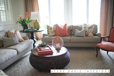 living room greens and coral