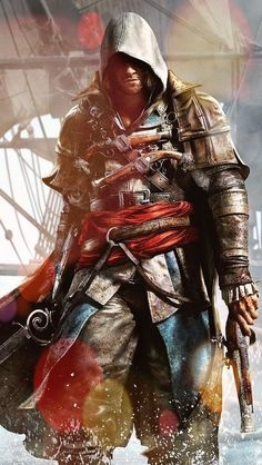 Assassins creed player sword with gun mobile wallpaper Assassins Creed Rogue, Assassins Creed Costume, Assassins Creed Black Flag, Assassins Creed Odyssey, Assassin's Creed Edward Kenway, Assasins Cred, Assassin's Creed 3, Assassin's Creed Wallpaper, Character Art