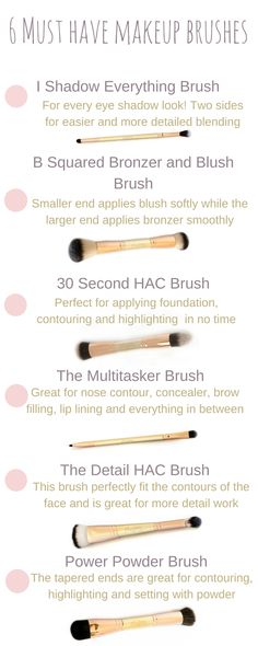 6 Muss Make-up Pinsel haben, Make-up Pinsel Kollektion . - 6 Muss Make-up Pinsel haben, Makeup Brush Collection - Beauty Make-up, Beauty Makeup Tips, Makeup Tools, Makeup Brushes, Paint Brushes, Makeup Tutorials, Beauty Ideas, Maskcara Makeup, Maskcara Beauty