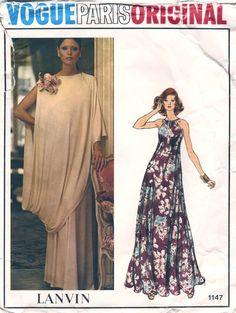 Vogue Dress Patterns | vogue paris original 1147 ca 1974 lanvin misses evening dress and toga ...