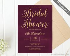 Burgundy and Gold Bridal Shower Invitation Template. Printable Maroon Marsala Bordo Modern Bridal Shower Invitation. PSD PDF Download http://etsy.me/2nMJtl2 #papergoods #gold #bridalshower #red #marsala #invitation #template #bridal #download