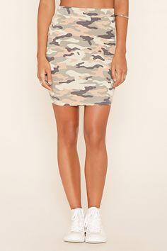 Camo Print Midi Skirt