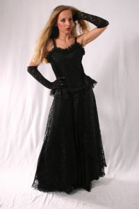 Gothic Satin & Lace Skirt. Gothic Full Length Satin/Net Skirt. 3 Colours available.By Bares~87-1202