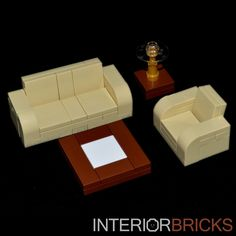 LEGO Furniture: 4 Piece Seating Set (Tan) w/ Couch, Chair & Tables [lot,town] #LEGO