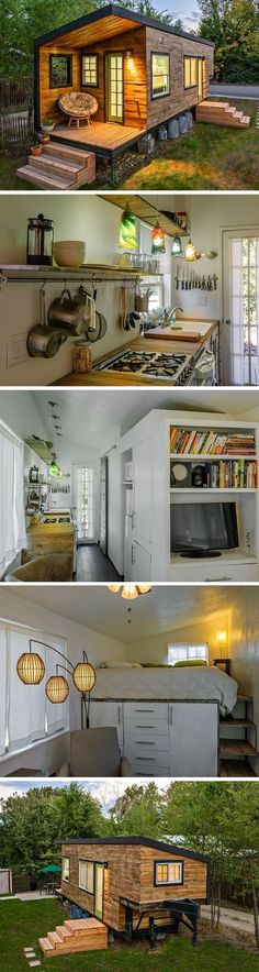 A 196 sq ft tiny house in Idaho, shared by a family for four and a Great Dane.