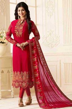 7e90aed5ee6b #Raya #Dresses 2018 - Madder Red Georgette Embroidered #Churidar Suit -  DMV12557 Eid